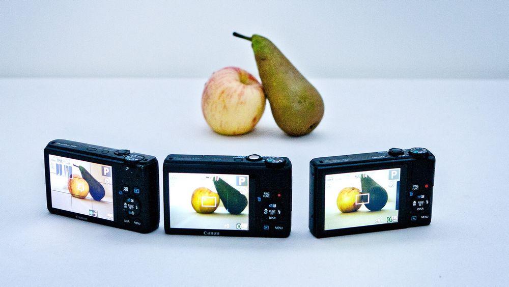 Ikke akkurat epler og pærer: forskjellene mellom  (f.v) Canon S95, S100 og S110 er ikke gigantiske.