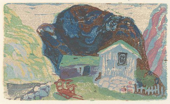 FJELLSTEMNING: Fjellgården, hvor der sjelden kom noen forbi. Illustrasjon til Hvitsymre i utslåtten av Hans E. Kinck.