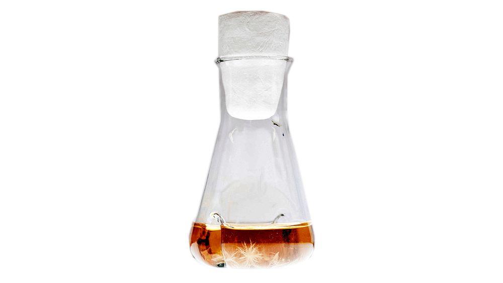 Vokser i flasker: Soppen og næringen den trenger, blir blandet sammen i slike flasker.