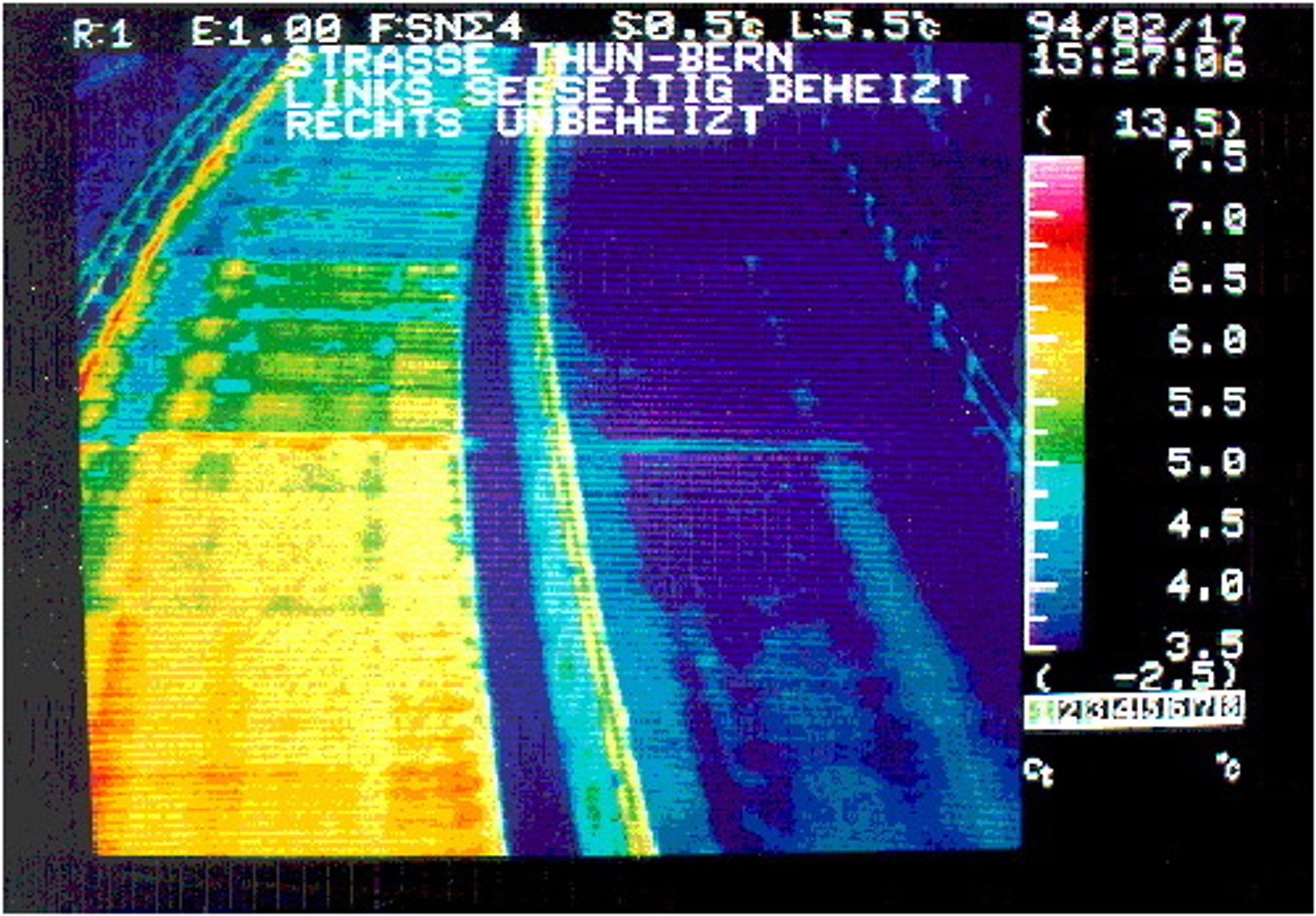 Et infrarødt bilde av den oppvarmede Serso-broen i Sveits.