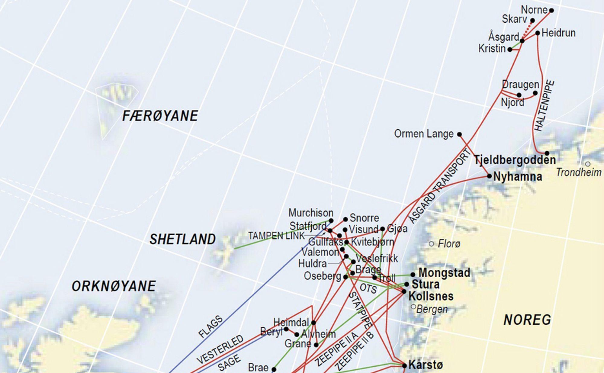 Dagens gassinfrastruktur på sokkelen stopper i Norskehavet. Regjeringen vil ha rør helt  til Barentshavet for å sikre Norges posisjon som en viktig gasseksportør.