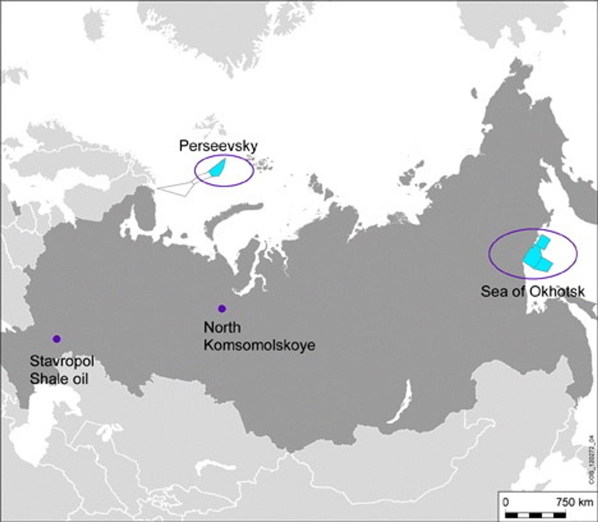 Kart over samarvbeidslisensene mellom Rosneft og Statoil i russisk sektor av Arktis.