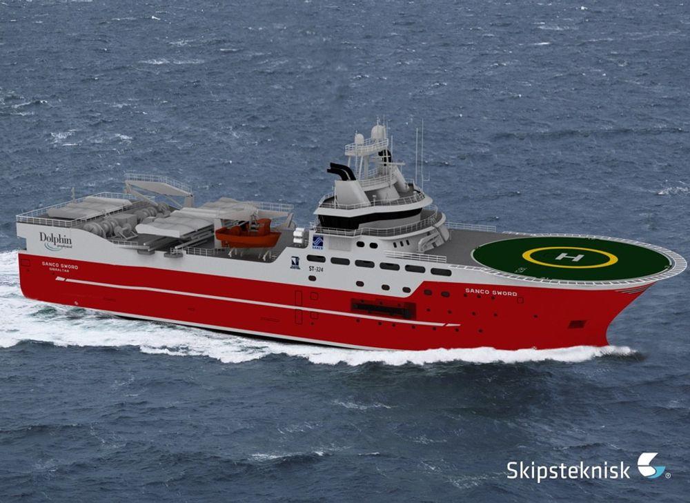NYTT: Sanco Shipping får sitt andre seismikkskip fra Kleven Maritime i 2014. Skipet har betegnelsen ST 324 CD og er 96,5 meter langt, 21.5 meter bredt.