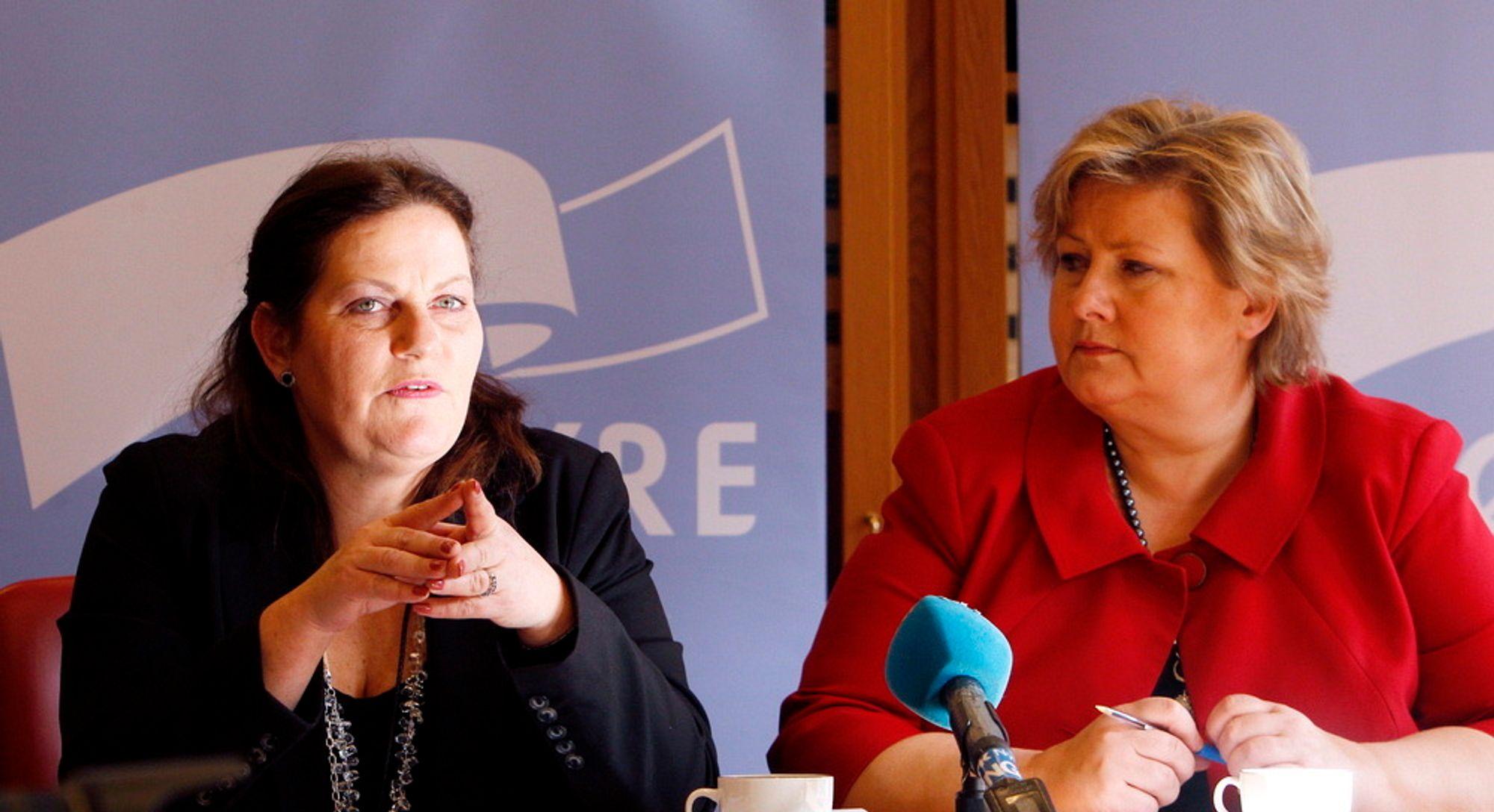 Leder i Høyre, Erna Solberg (t.h.), og energipolitisk talskvinne i Høyre, Siri A. Meling.