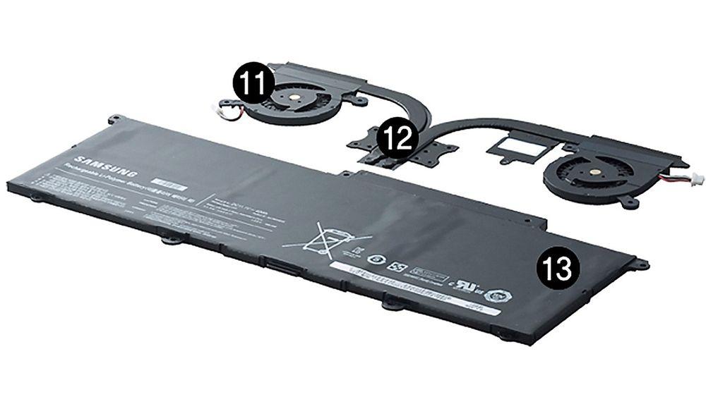 Samsung bruker to små vifter og et nytt, integrert batteri i sin nye Series 9. Det bidrar til å redusere tykkelsen til 12,9 millimeter.