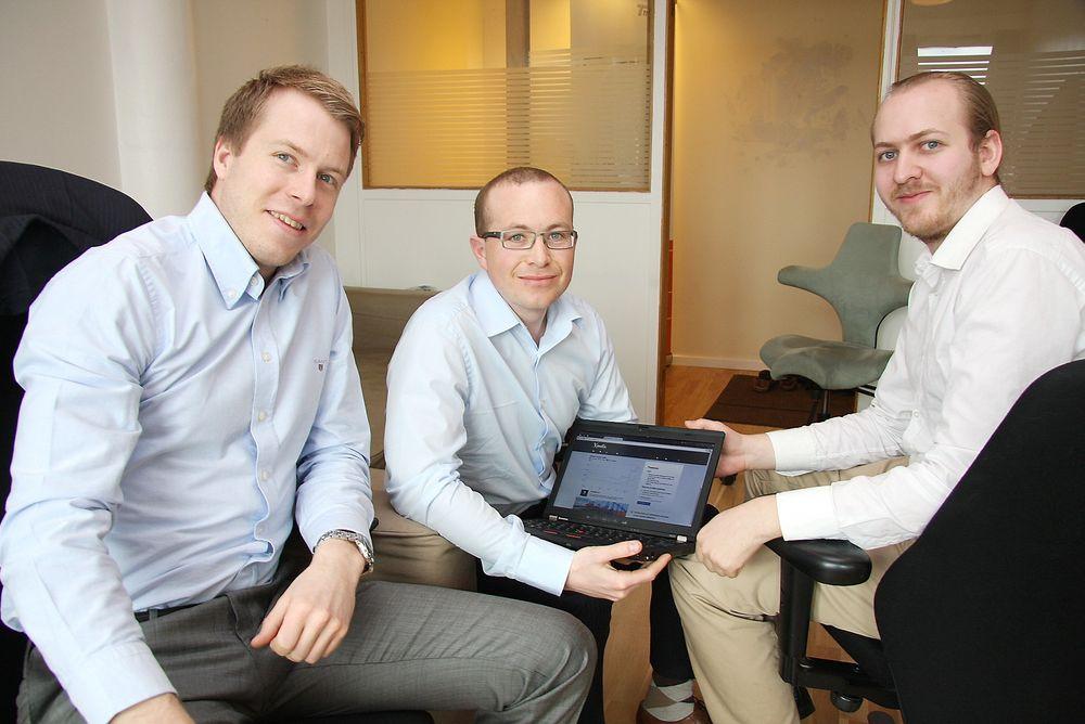GRÜNDERE: Vilhelm Vardøy, Thomas Sørbø og Patrik Olstad Berglund (bak). FOTO: Tore Stensvold