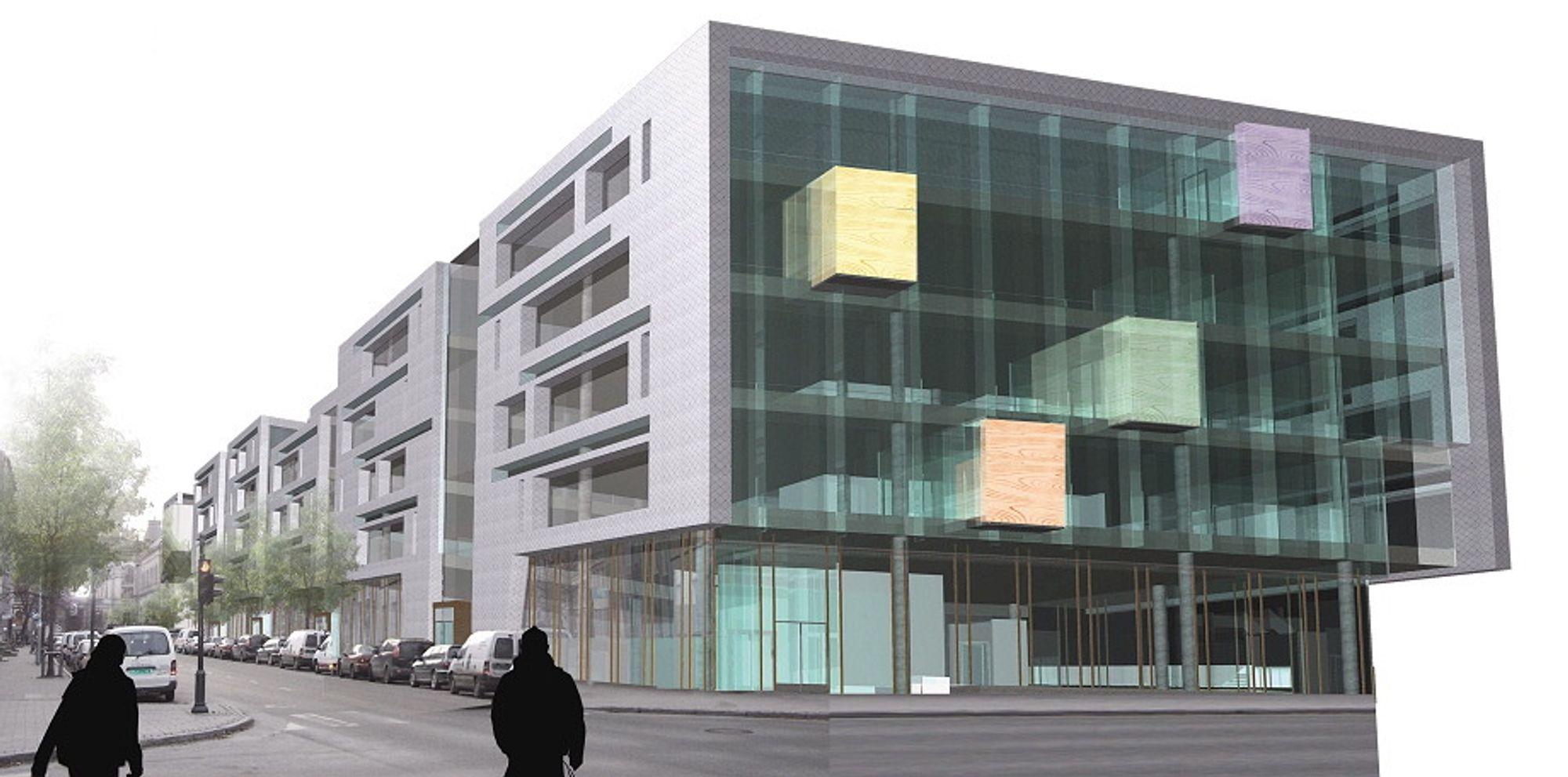Slik blir fasaden på Sparebank 1 Midt-Norges nye hovedkvarter i Trondheim. Dette blir et av landets mest energigjerrige næringsbygg.