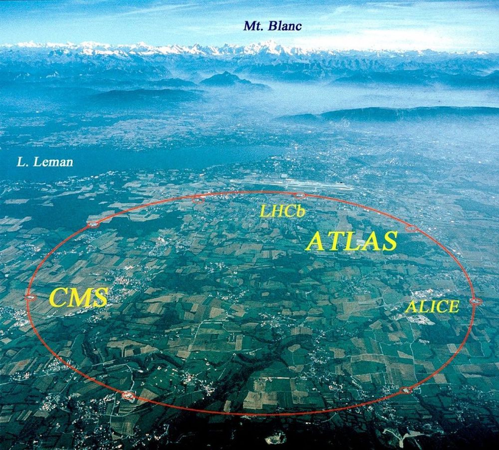 SVEITS: Inntegnet er CERNs store, underjordiske partikkelakselerator, og seneterets beliggenhet like ved Mt Blanc og Lac Lemond i Sveits. FOTO: CERN