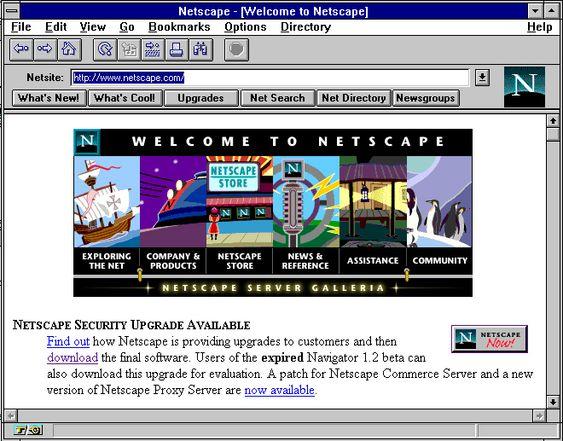 Skjermdump fra Netscape 1.2 på Windows 3.1