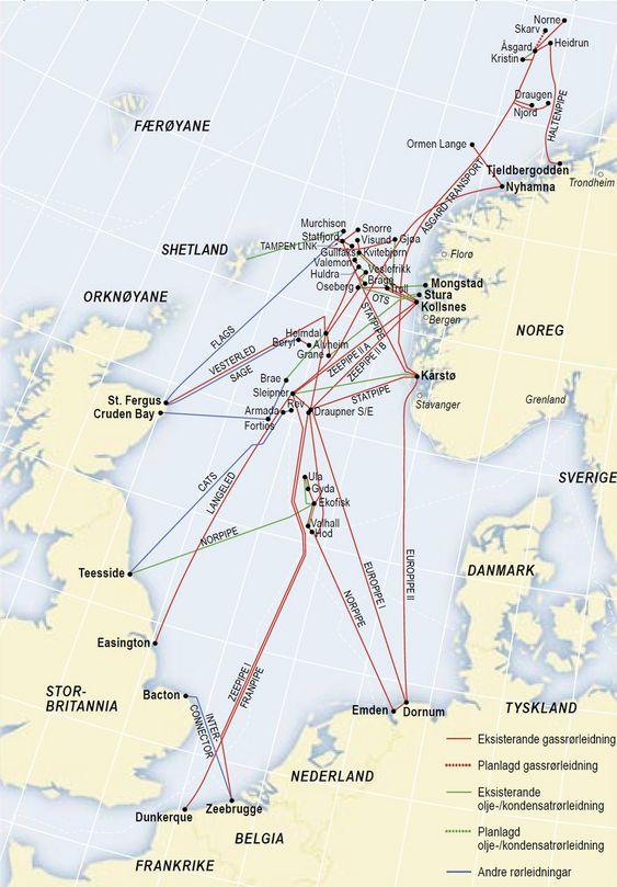 STOPPER HALVVEIS: Dagens gassinfrastruktur på sokkelen stopper i Norskehavet. Regjeringen vil ha rør helt  til Barentshavet for å sikre Norges posisjon som en viktig gasseksportør.