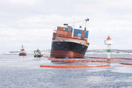 STØTT: Ifølge Sjøfartsdirektoratet ligger Godafoss støtt og uten fare for kantring eller at det glir av.