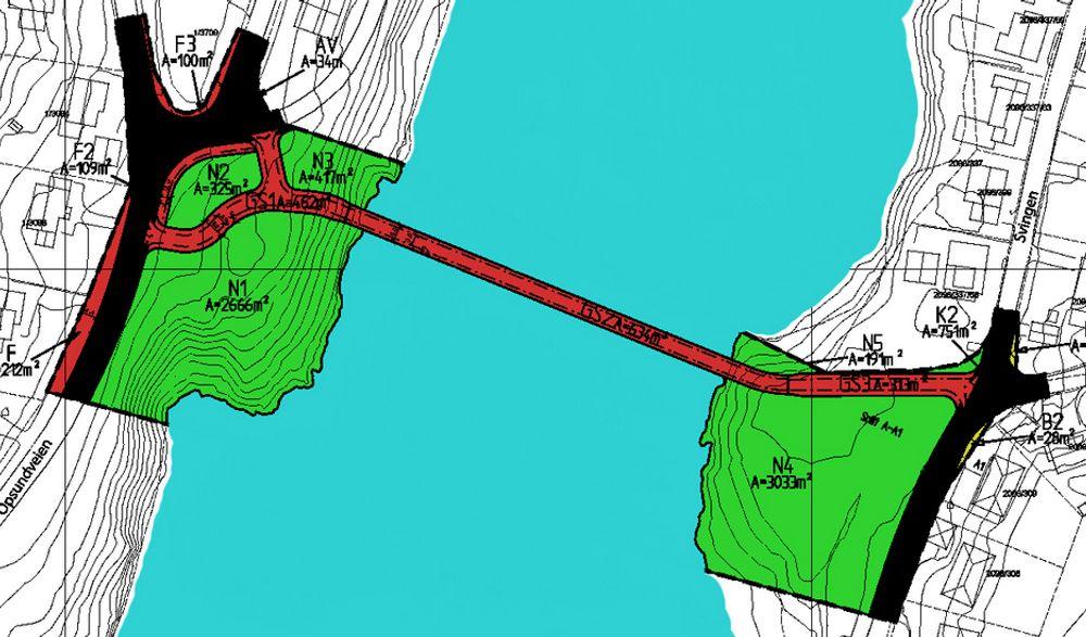Foreløpig er brua over Glomma bare en rød strek. De som vil bestemme hvordan den skal se ut, må melde seg på til prekvalifisering senest 24. november. Ill.: Sarpsborg kommune