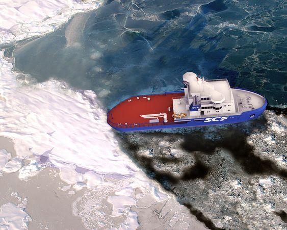 SØL: Skipet kan beveges sidelengs og samle opp olje i isbealgte farvann. Det får tre rorpropeller som gir gode manøvreringsegenskaper.  kombinert isbryter og oljevernfartøy for russisk gruppering. Kombinasjonsskipet blir 67 meter langt og 19 meter bredt. I tillegg til ekstreme isbryteregenskaper, utstyres skipet for oljeoppsamling i arktiske strøk.  Skipet bestilles av de russiske selskapene OAO Sovcomflot og FSUE Rosmorport