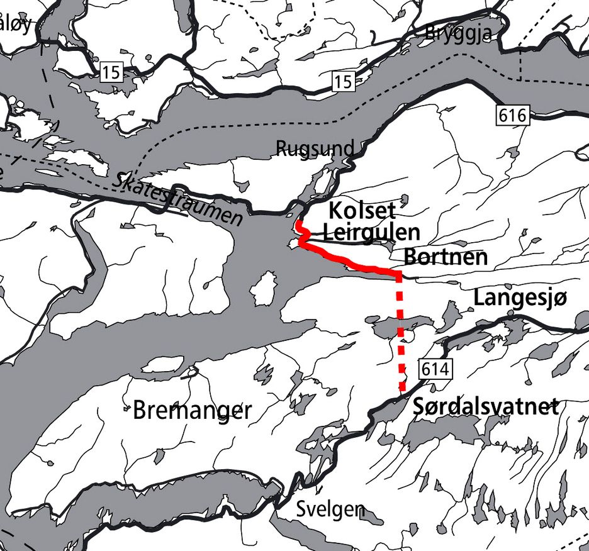 Den 5,2 km lange strekningen er markert med heltrukket rød linje. Mye rart skal skje hvis ikke kontrakten går til K. A. Aurstad. Ill.: Statens vegvesen