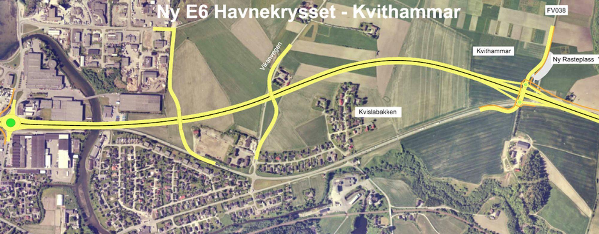 Ny E 6, markert med dobbel gul linje, må være kjørbar senest 15. november 2013.  Ill.: Statens Vegvesen