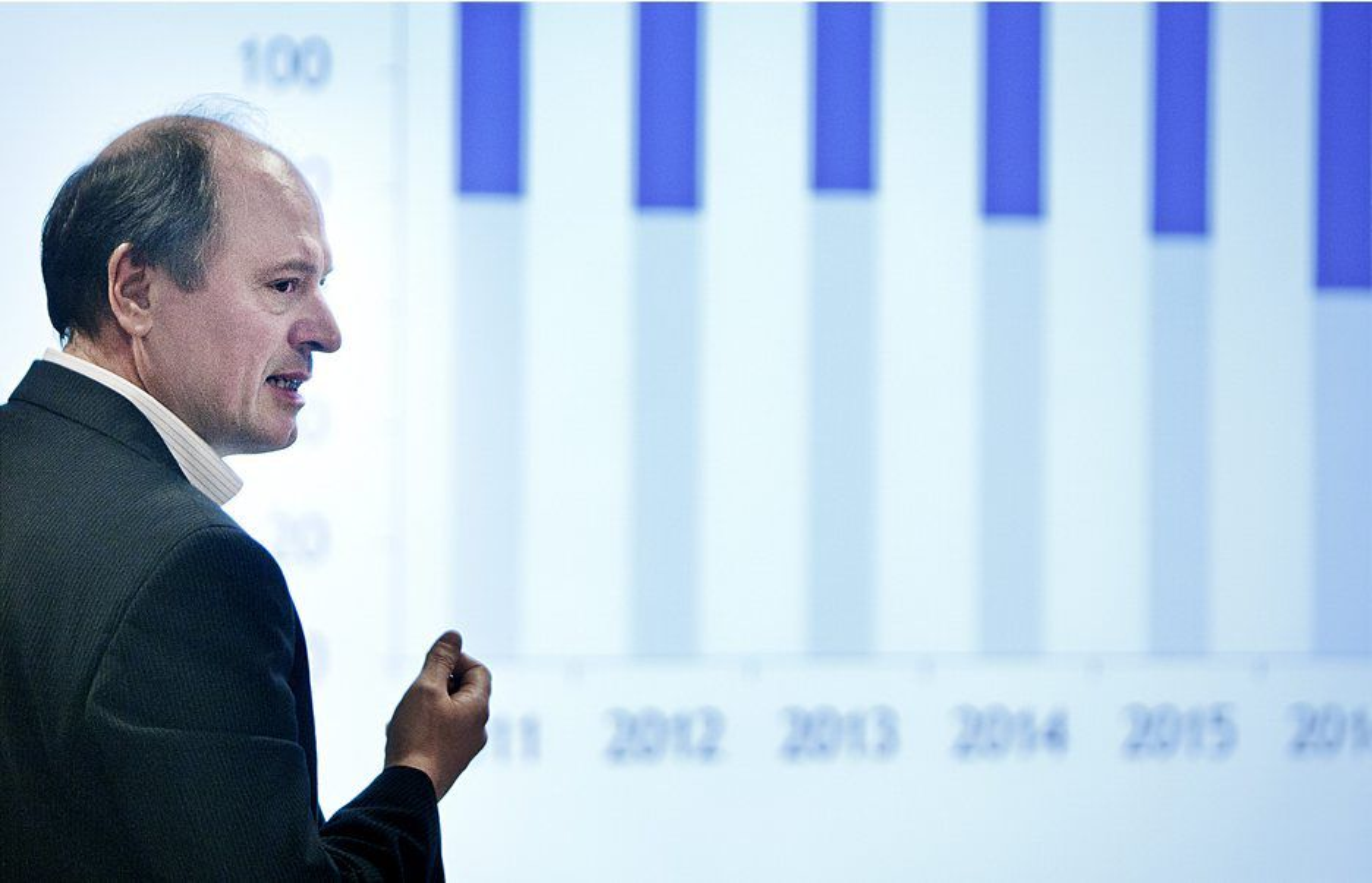 SSB spår rekordhøye investeringer i 2012. Her er Bjørn Harald Martinsen i OLF under fremleggelsen av OLFs konjunkturrapport.