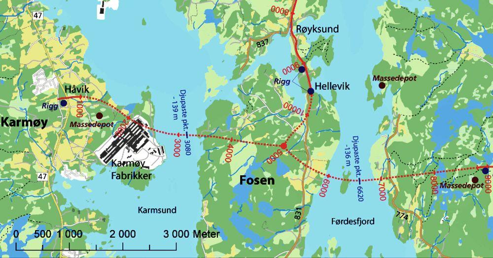 Karmøytunnelen er markert med stiplet rød linje. Her skal det meste av elektroarbeidet utføres. Ill.: Statens vegvesen
