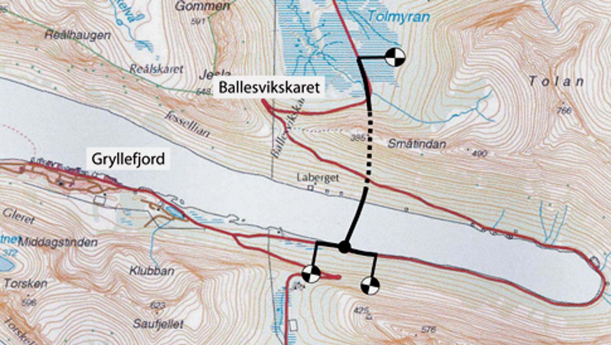 Fiskeværet Gryllefjord i Torsken kommune får kortere og mer rassikker vegforbindelse til omverden når Ballesvikskartunnelen og brua over Gryllefjorden blir ferdig høsten 2013. Ill.: Statens vegvesen