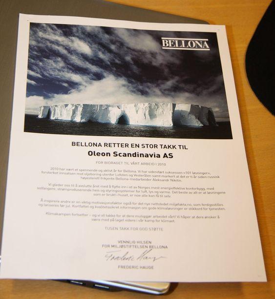 TAKK: I fjor fikk Oleon takkebrev fra Bellona.  Det er ikke det samme som frikort, ifølge Bellona.