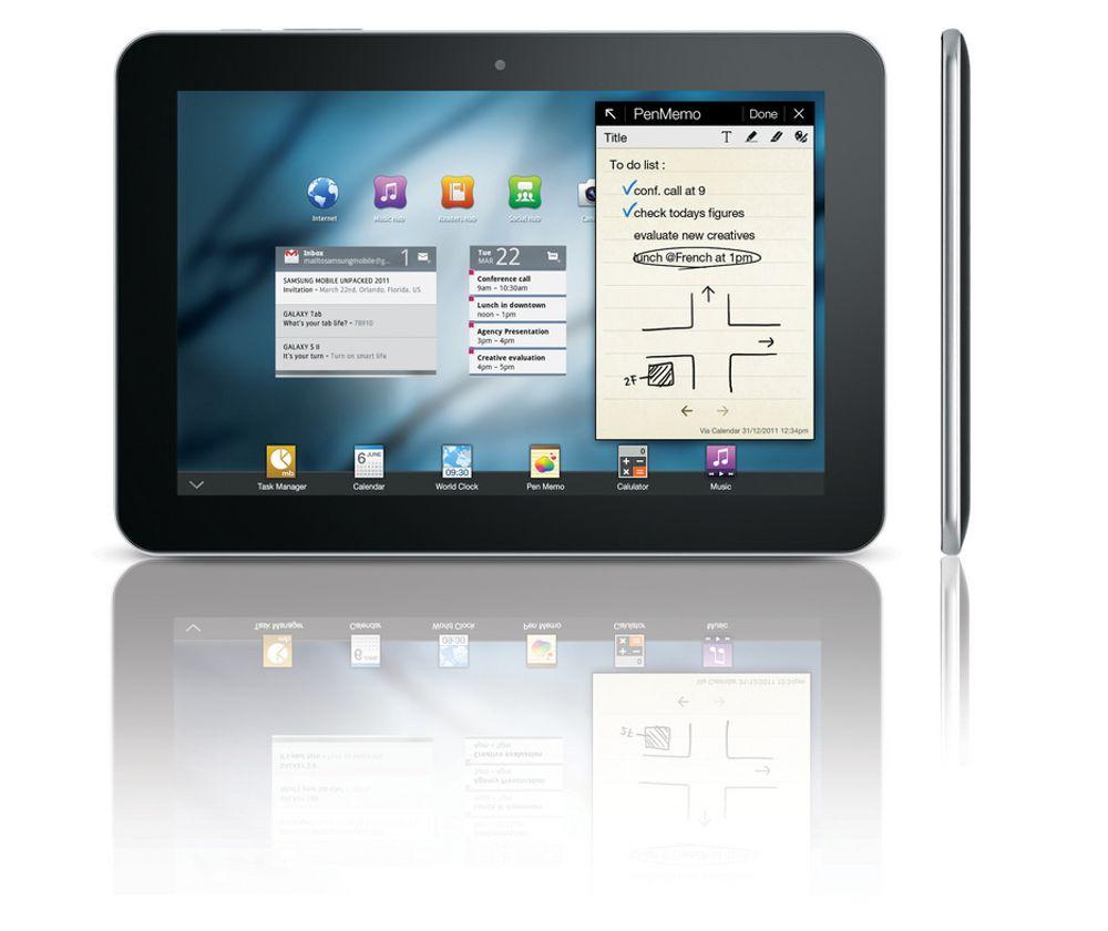 Samsung Galaxy Tab som 8,9-tommer. Brettet skal være i handelen i andre halvår.