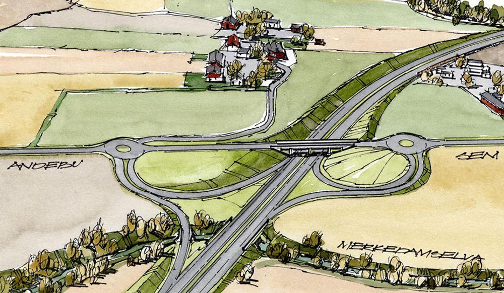 Hesbykrysset ligger på parsellen Gulli-Holmene. Her møtes E 18, fv 312 og fv 523. Slik vil krysset se ut etter utvidelsen. Ill.: Statens vegvesen