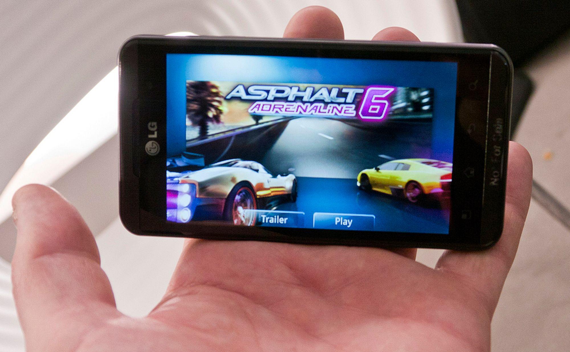 LYSSTERK: LGs nye 3D-mobil har en 4,3 tommer LCD-skjerm som både fungerer to- og tredimensjonalt. Men kun én bruker kan se 3D om gangen.
