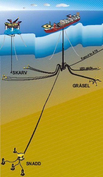 STORT OMRÅDE: Havbunnsbrønnene er spredt over et stort område. Olje og gas skal samles fra feltene Skarv, Idun og Snadd.
