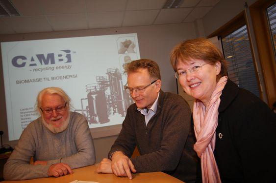 MILJØKAMERATER: Siden 1989 har Cambi AS utviklet teknologien som effektivt gjør biologisk avfall til biogass. Her er teknologisjef Odd Egil Solheim, Norman Weisz (kontraktdirektør)  og Merete Norli (teknologidirektør).