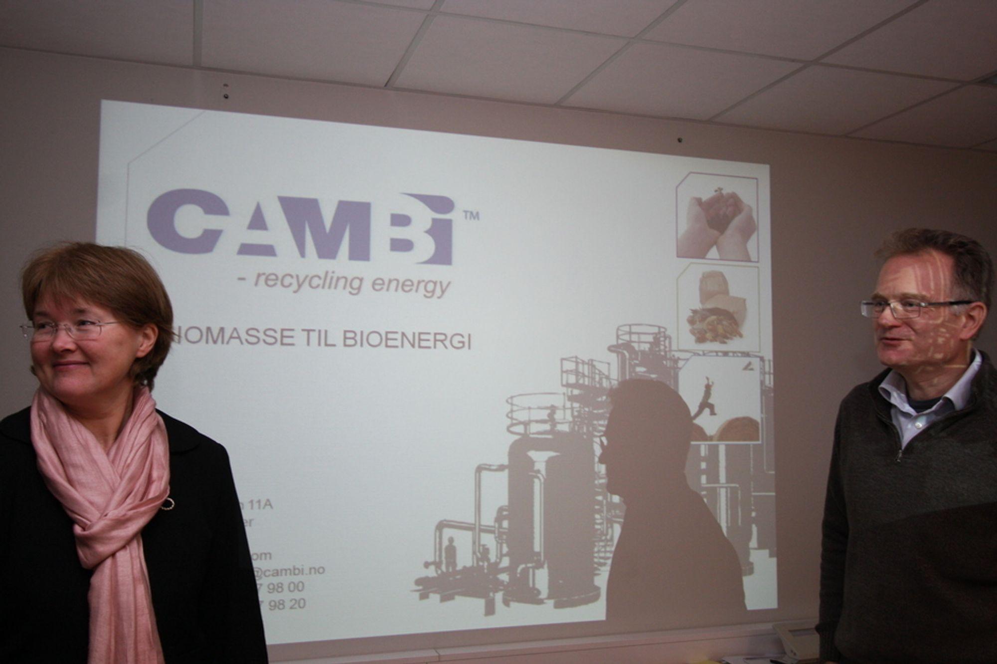 MILJØ: Cambi AS er på vei ut av skyggenes dal. Selskapet er ledende på teknologi for å omdanne bioavfall til biogass. Merete Norli (teknisk direktør) og Norman Weisz (kontraktdirektør) gleder seg over flere store kontrakter i det siste.