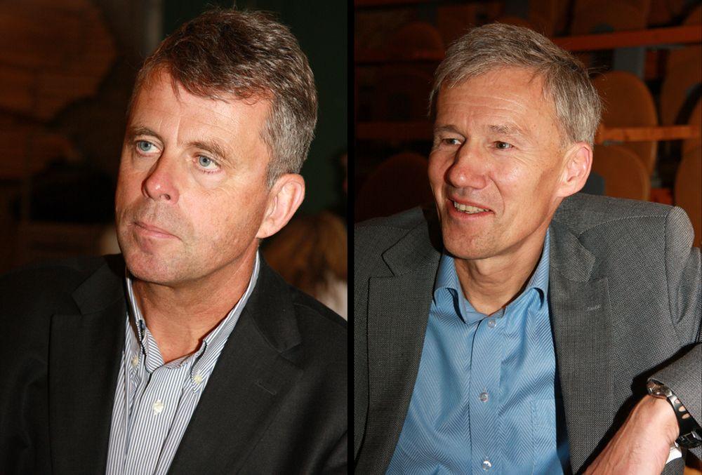 GAMLE STRUKTURER: Organisasjonene er basert på gamle strukturer og det er behov for nytenkning, mener Petter Eiken (t.v.) Her sammen med  John Nyheim  som leder Norconsult, og som gjerne diskutere Petter Eikens forslag om ny organisering.