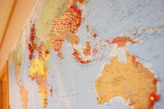 VERDENSOMSPENNENDE: Kina seiler opp som et viktig marked for Normeka. Som kartet viser har bedriften også levert til utallige andre flyplasser rundt om i verden.