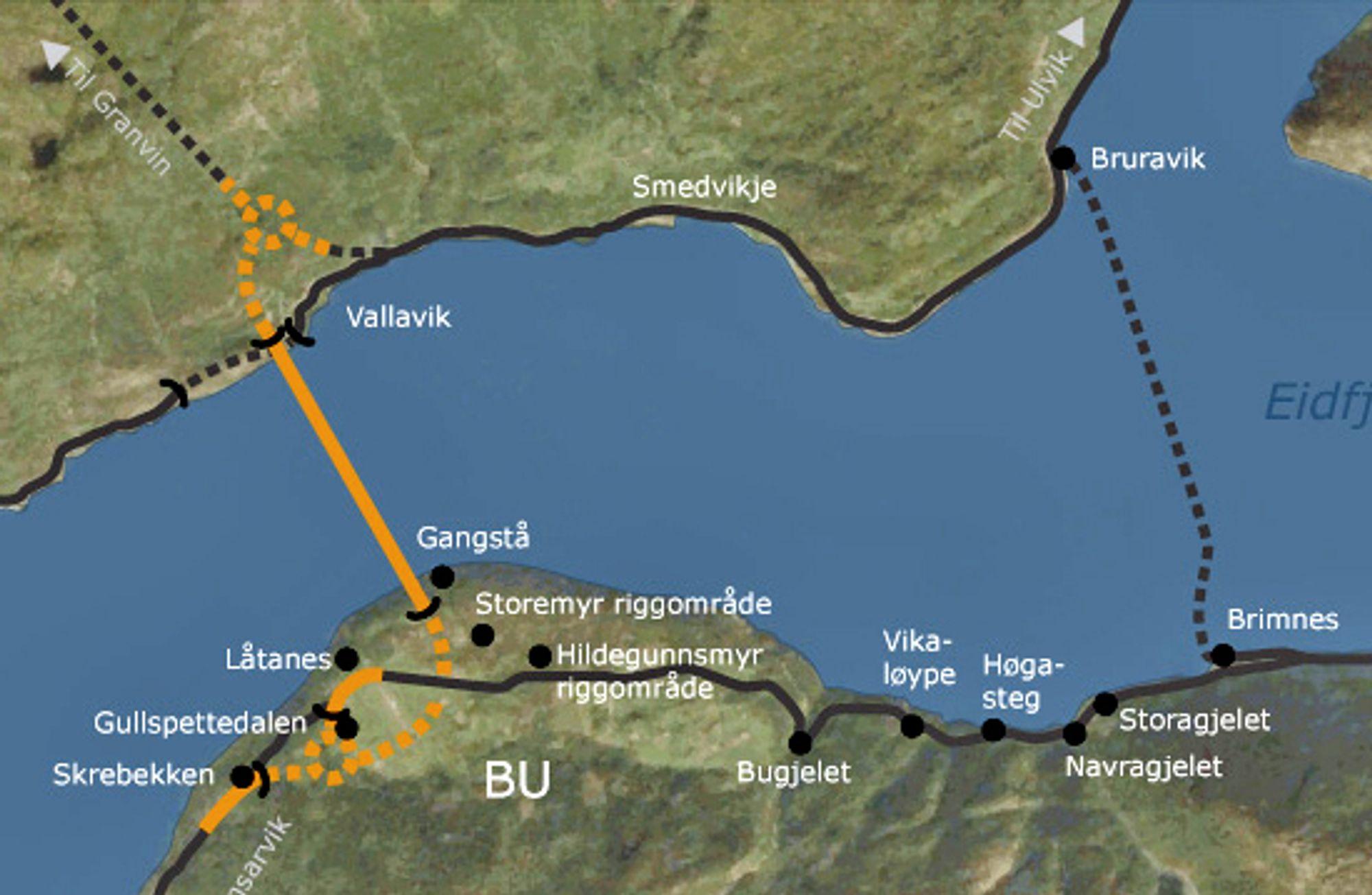 Strekningen som skal utbedres går mellom Nautaflåt og Bugjelet, som ligger omtrent midtveis mellom Bu og Brimnes. Mye rart skal skje hvis ikke kontrakten går til E Opedal & Sønner. Ill.: Statens vegvesen
