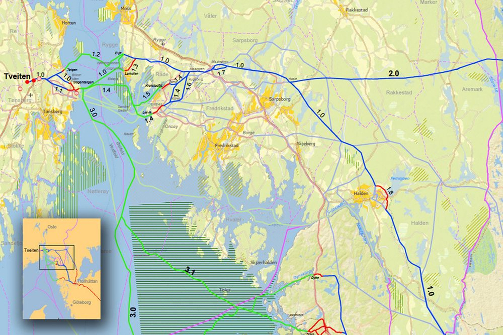 MELDINGSKARTET: Statnetts meldingskart over den såkalte SydVest-linken. Grønne linjer er sjøkabel, blå er luftledning og rød jordkabel.