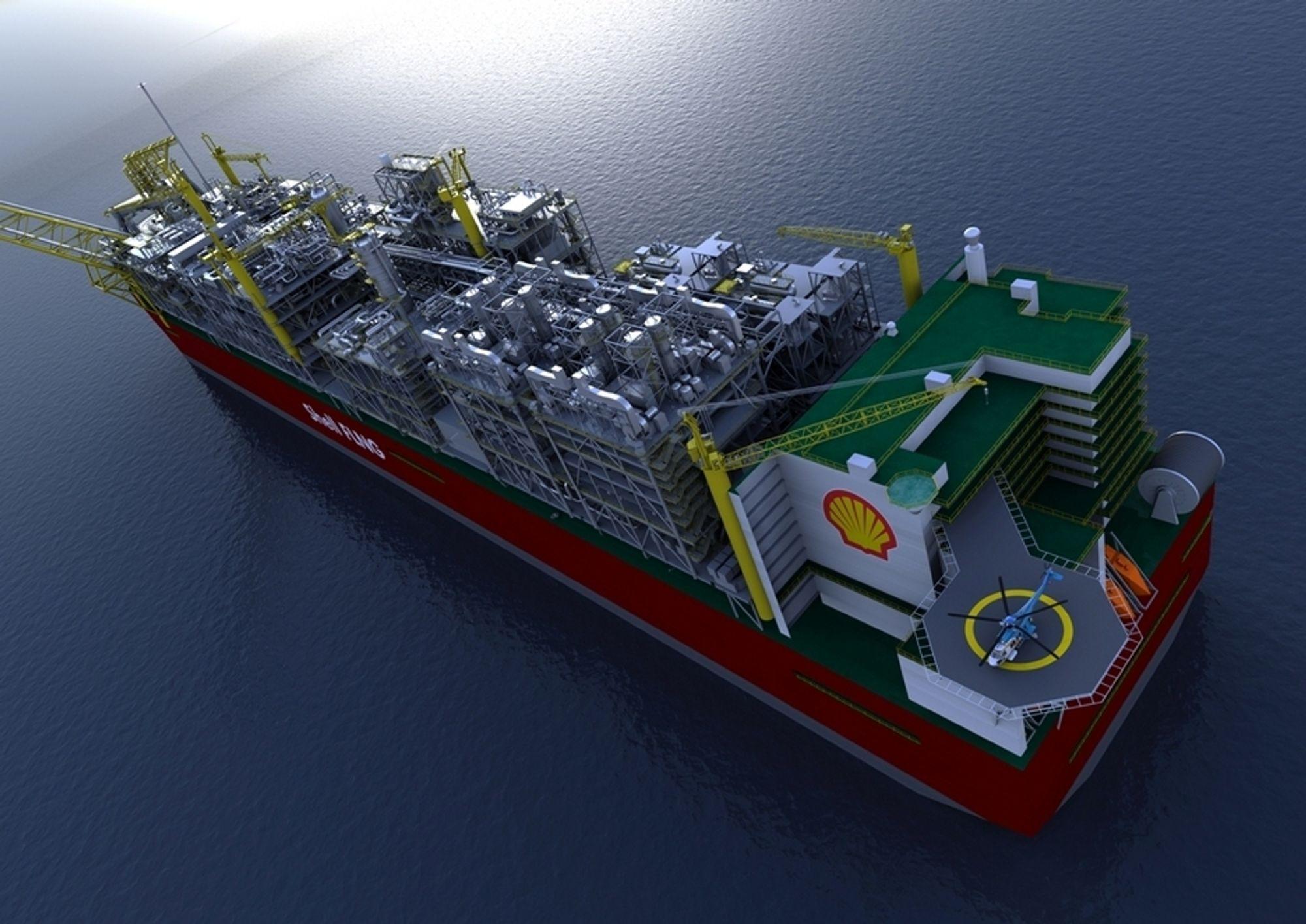 FØRSTE: Shells FLNG-prosjekt for Prelude-feltet. Fartøyet blir 488 meter langt og skal forankres 200 kilometer fra land. Gass behandles om bord og kjøles ned til flytende form (LNG).
