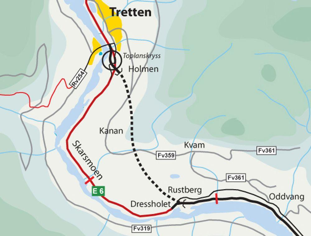 Land Elektriske fra Dokka har gitt det laveste anbudet på elektro- og SRO-montasje i Øyertunnelen, som er markert med stiplet linje. Men marginene er små og ingenting er avgjort. Ill.: Statens vegvesen