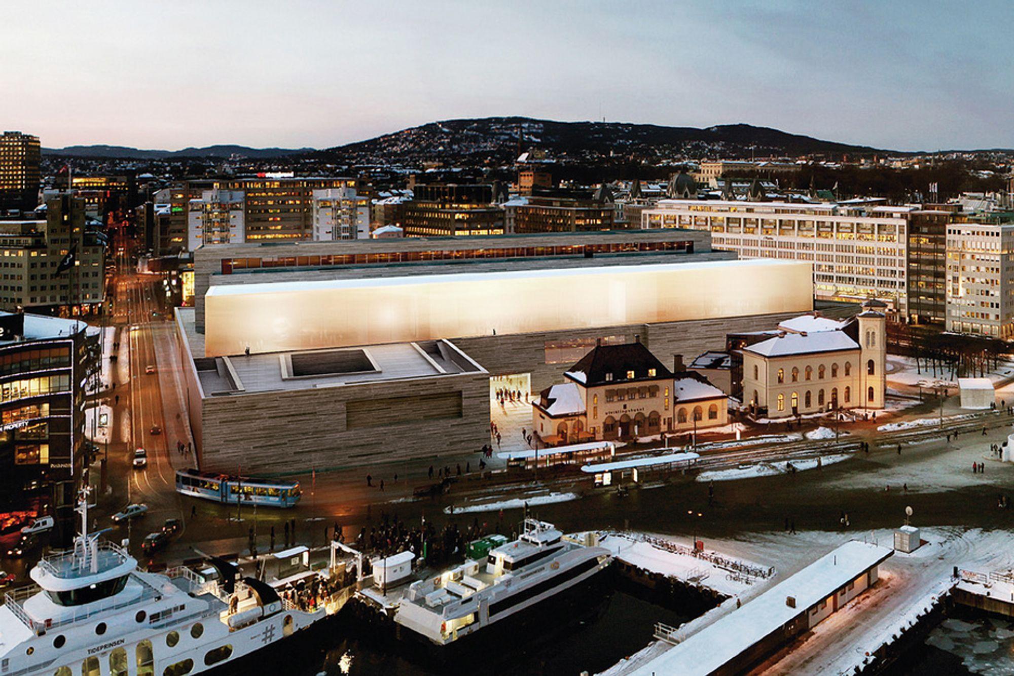 PASSIVT: Det nye Nasjonalmuseet i Oslo skal være på passivhusnivå, og opp mot 90 prosent av oppvarming skal komme fra sjøvann.