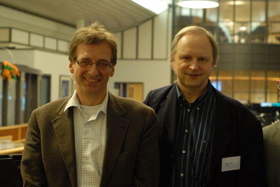 Administrerende direktør Jens Auset i Hafslund Nett (t.v.) og professor på NTNU og seniorforsker på SINTEF Kjell Sand.