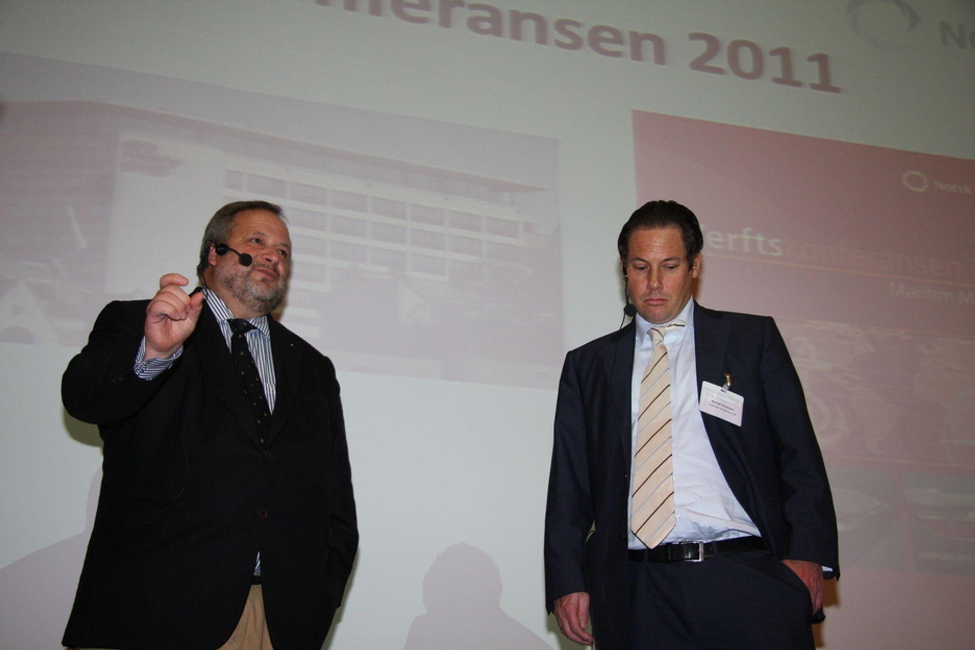 MIXED FEELINGS: Michael vom Baur og Nicolai Hansteen tegnet både lyse og litt mindre lyse prognoser for europeisk skipsbyggingsindustri på Verftskonferansen i Ålesund.