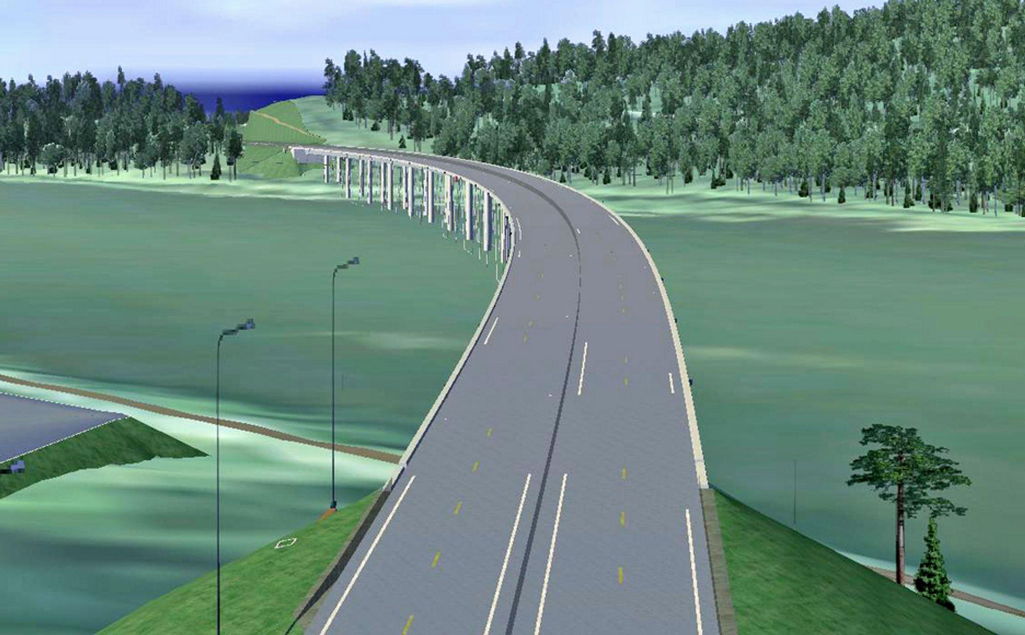 Denne brua skal føre riksveg 2 over Glomma. Den er prosjektert av Aas-Jakobsen. Hvem som skal bygge den er foreløpig usikkert. Ill.: Statens vegvesen