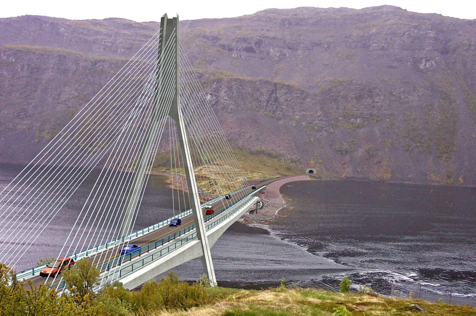 Alpine Bau fra Østerrike skal bygge denne brua over Kåfjorden i Alta for 108,783 millioner kroner.