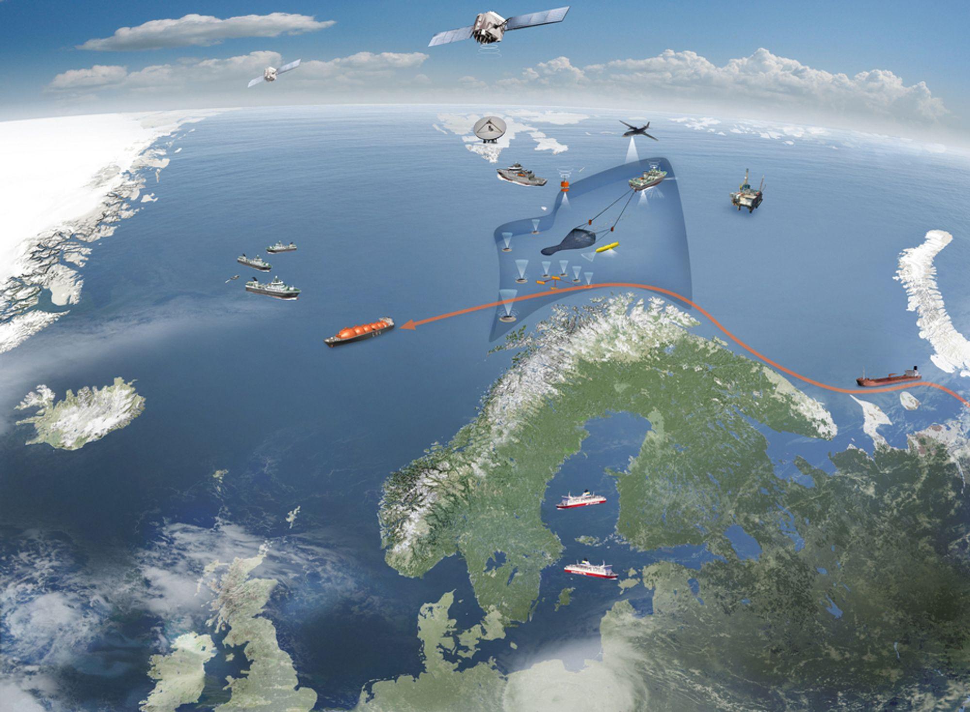 INGEN GJENBRUK: Kystverket deltar i den halvprivate portalen Arctic Web, men kan ikke gjenbruke løsninger derfra i utviklingenb av den nye portalen Barets Watch (som denne illustrasjonen viser datakildene til).