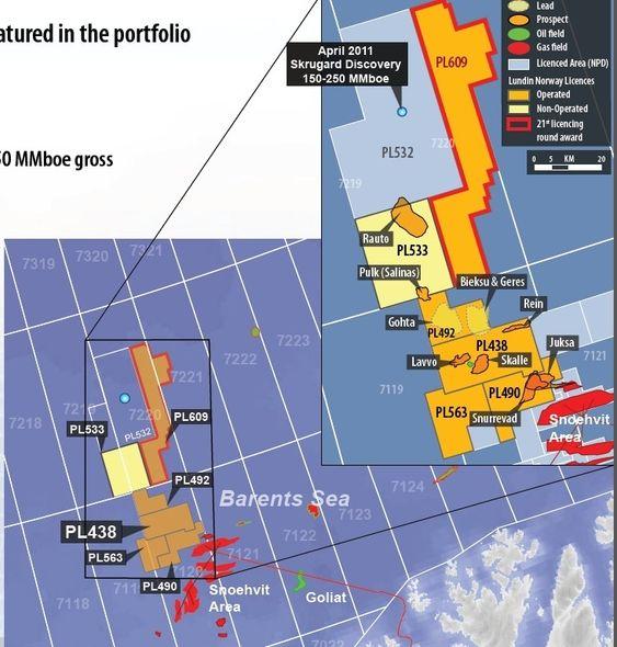 Skalle, Barentshavet kart prospekter Lundin