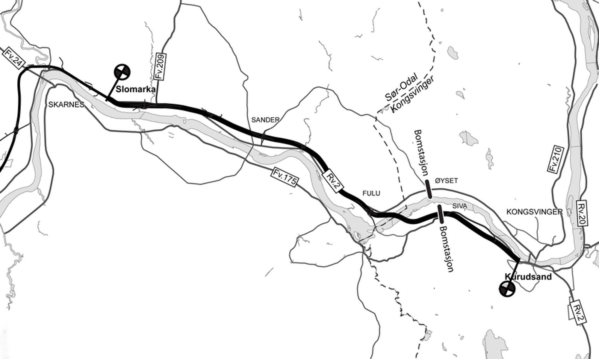 Kurudsand er markert helt til høyre på kartet. Gulli ligger like øst for stedet der den tykke linjen krysser Glomma. Ill.: Statens vegvesen