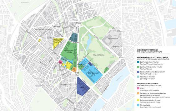 Kart over Nørre Campus, København.