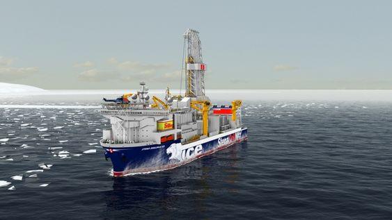 TØFFING: Verdens første boreskip for ekstreme isforhold, Stena Drillmax Ice. Skal tåle is på opp til 2,2 meter. Det 228 meter lange og 42 meter brede skipet har et deplasement på 98.000 tonn.