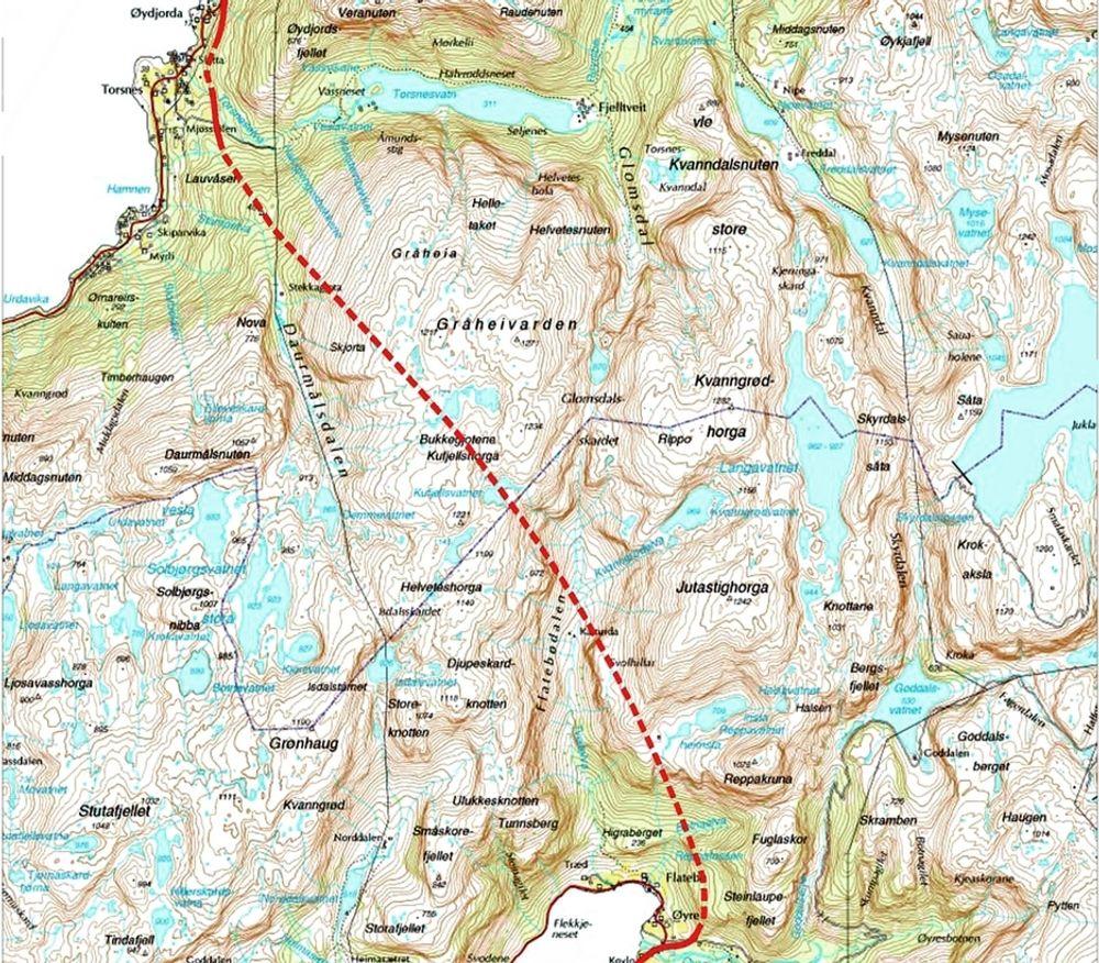 Kartet viser traséen til den 10 050 meter lange Jondalstunnelen. Torsnestunnelen er helt øverst. Elektroarbeidet i tunnelen har anbudsfrist 26. august. Ill.: Statens vegvesen