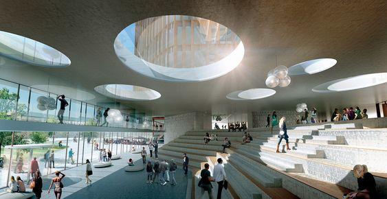 Panum-bygningen innvendig. Nørre Campus, København.