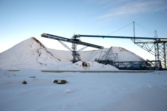 PÅ VENT: 70 000 tonn flis på Averøy ligger og venter på å bli til pellets som skal skipes ut til energiprodusenter i Europa. Pelletslagrene på kontinentet er sterkt redusert etter kuldeperioden.