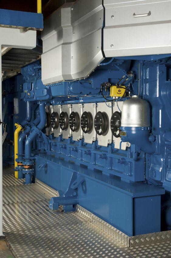DOBBELFUNKSJON: Wärtsilä 34DF motor som går på LNG og en skvett diesel til tenning. Motoren kan sømløst skifte til ren dieseldrift om nødvendig.
