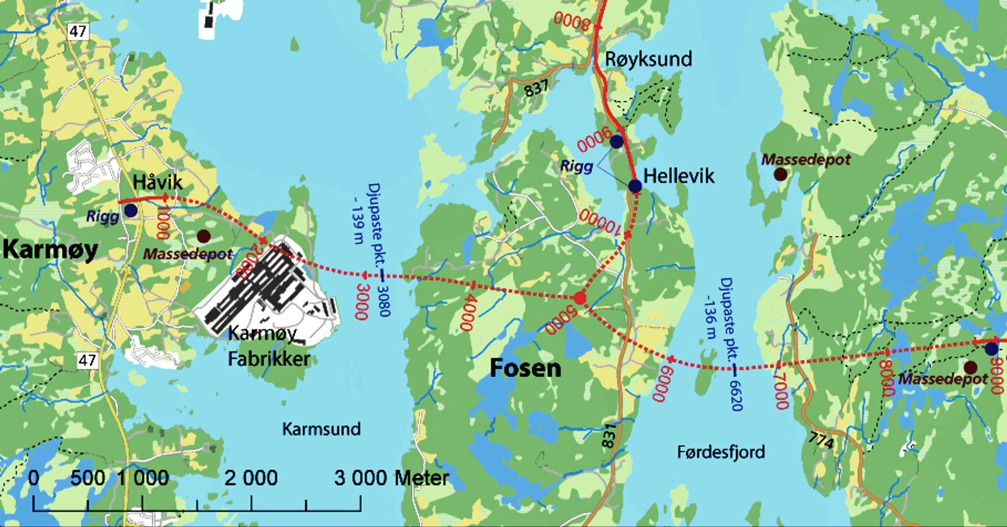 Traffic Solutions skal utføre elektro- og SRO-installasjonene på T-forbindelsen. De stiplete røde linjene viser Karmøytunnelen hvor det aller meste av arbeidet vil bli utført. Ill.: Statens vegvesen